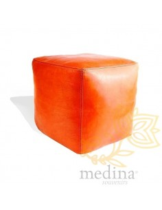 Pouf marocain cube orange,...
