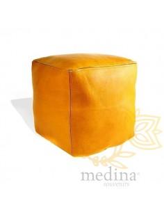 Pouf marocain cube jaune,...