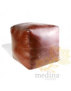Pouf marocain cube marron...