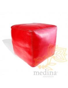 Pouf marocain cube rouge,...