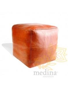 Pouf marocain cube tabac,...