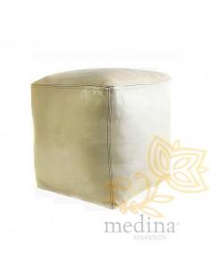 Pouf marocain cube blanc,...