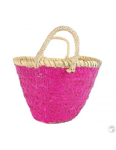 Panier marocain design avec poignées en corde tréssée et décoré de pailletes rose