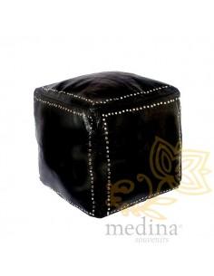 Pouf carré noir en cuir...